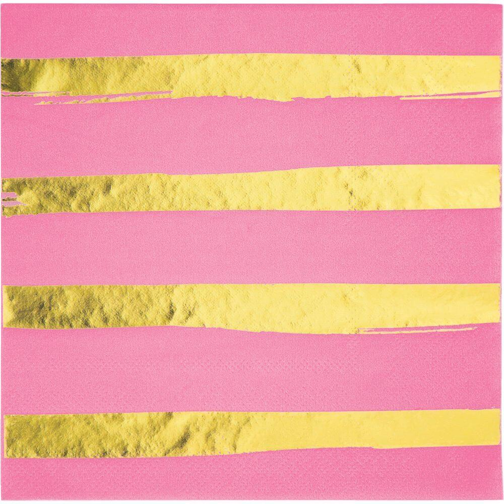 Foil Stripe Luncheon Napkin 3ply 16ct, Candy Pink