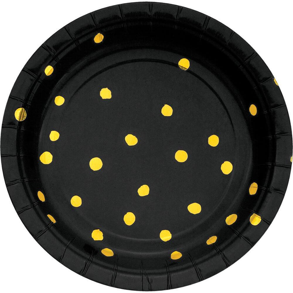 Lunch Plate 7in 8ct, Gold Foil Dot Black Velvet