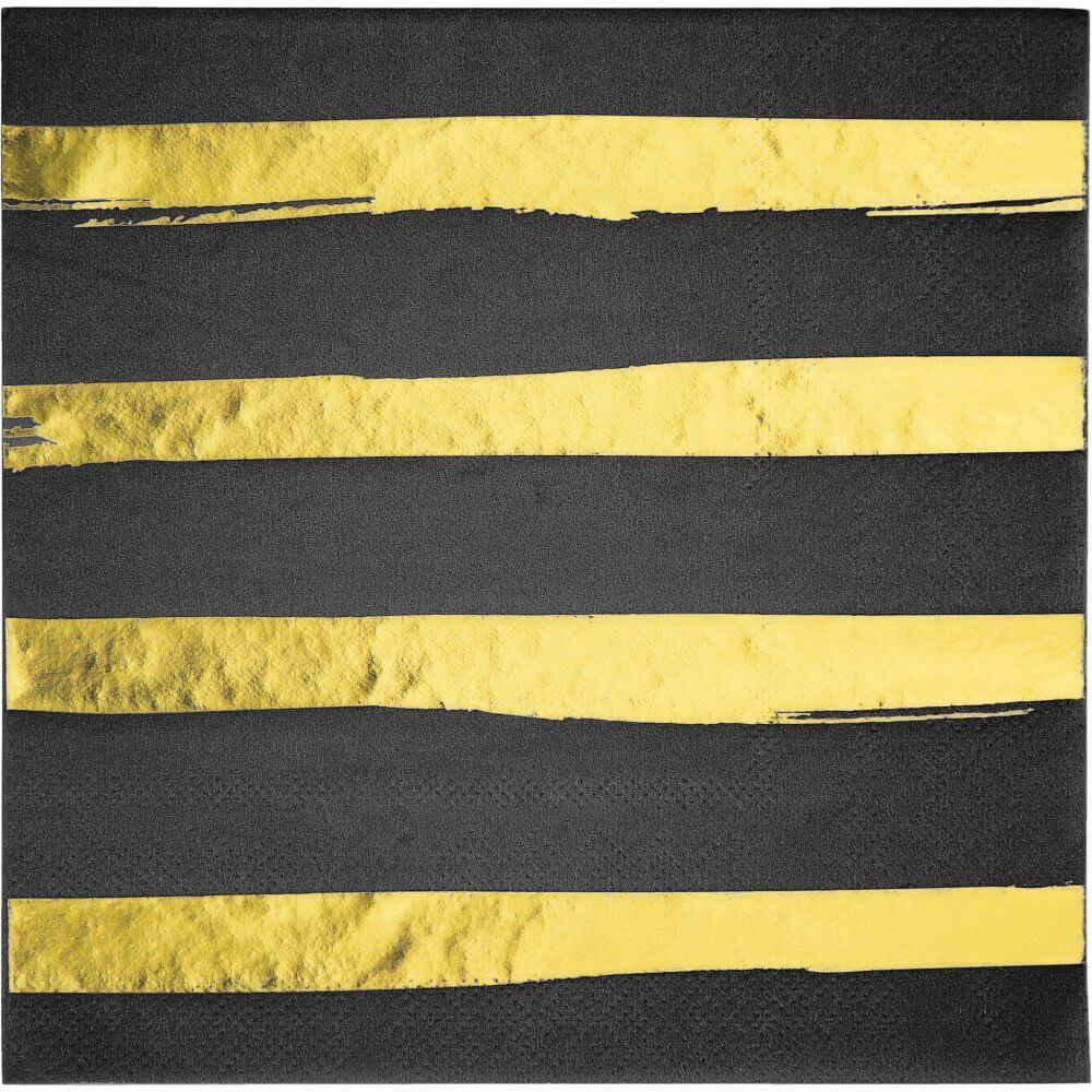Foil Strip Luncheon Napkin 3ply 16ct, Gold/Black
