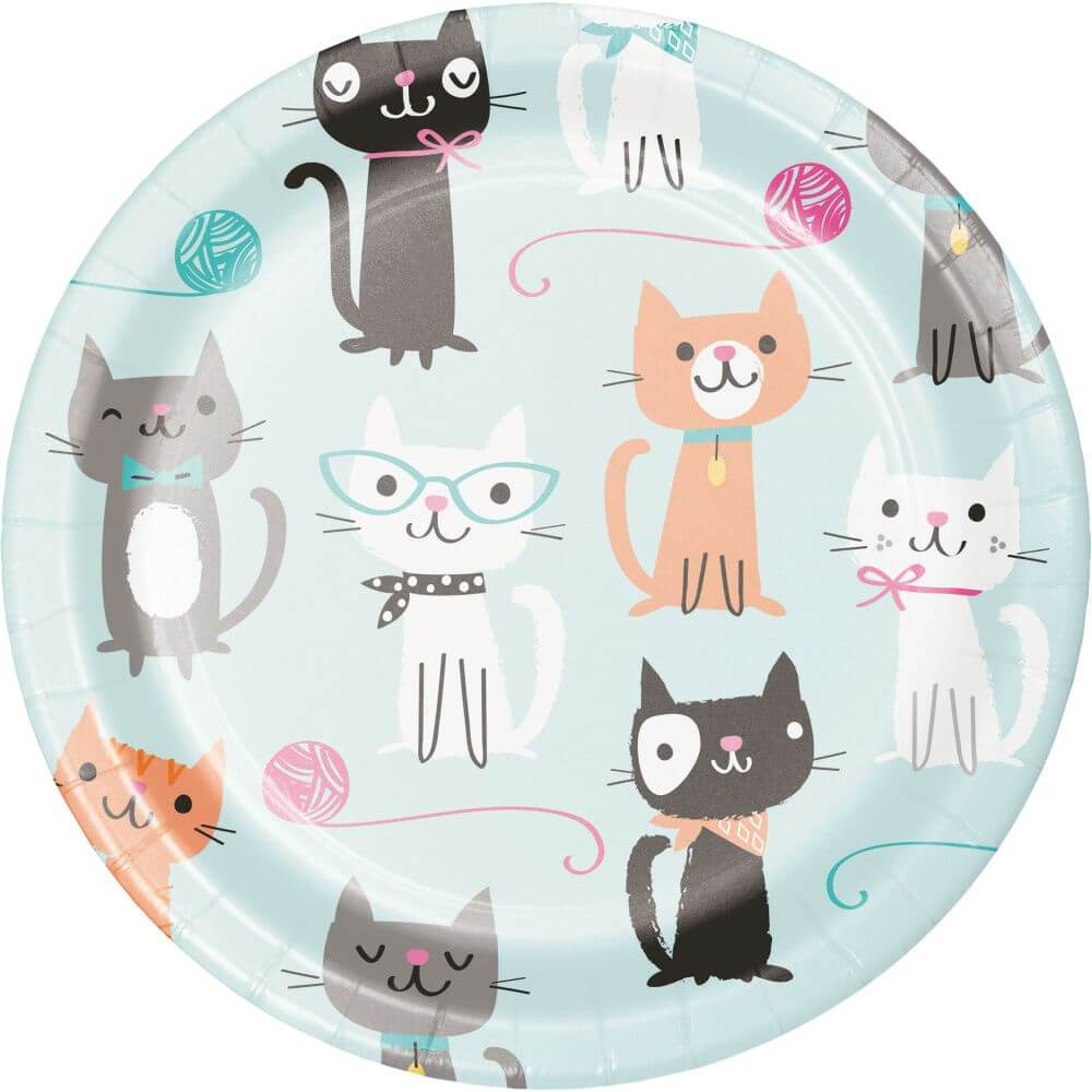 Dessert Plate 7in 8ct, Purr-Fect Party