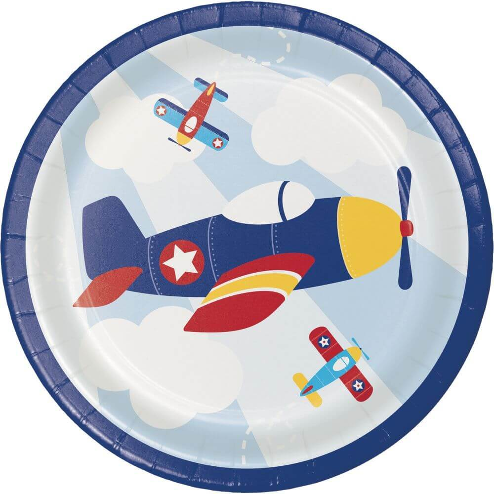 Lunch Plates 7in 8ct,  Lil' Flyer Airplane