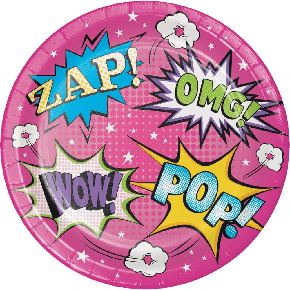 Lunch Plates 7in 8ct, Girl Superhero
