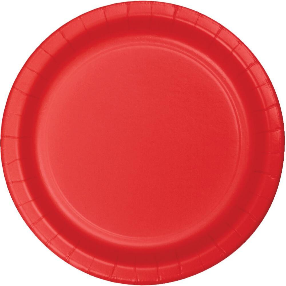 Paper Round Dinner Plate 10in 24ct, Classic Red