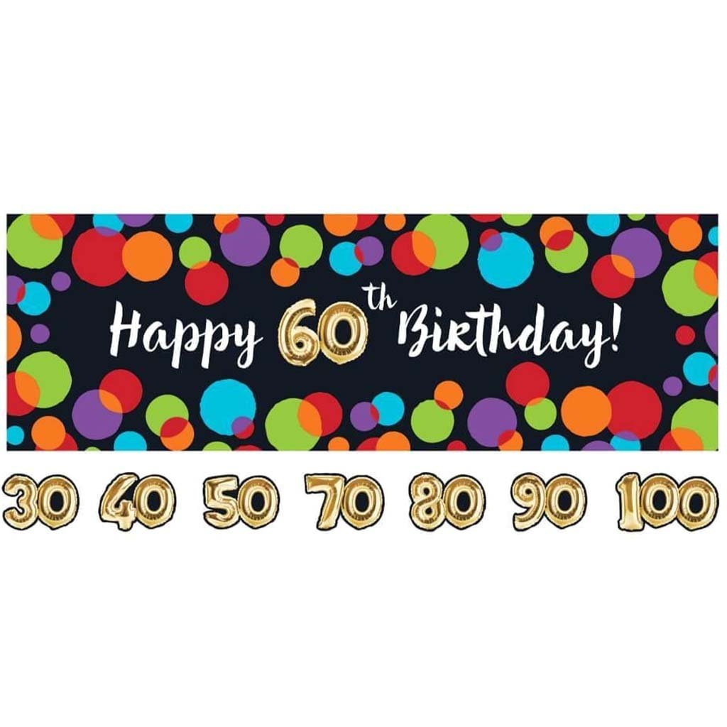 Balloon Birthday Jointed Banner With Sticker