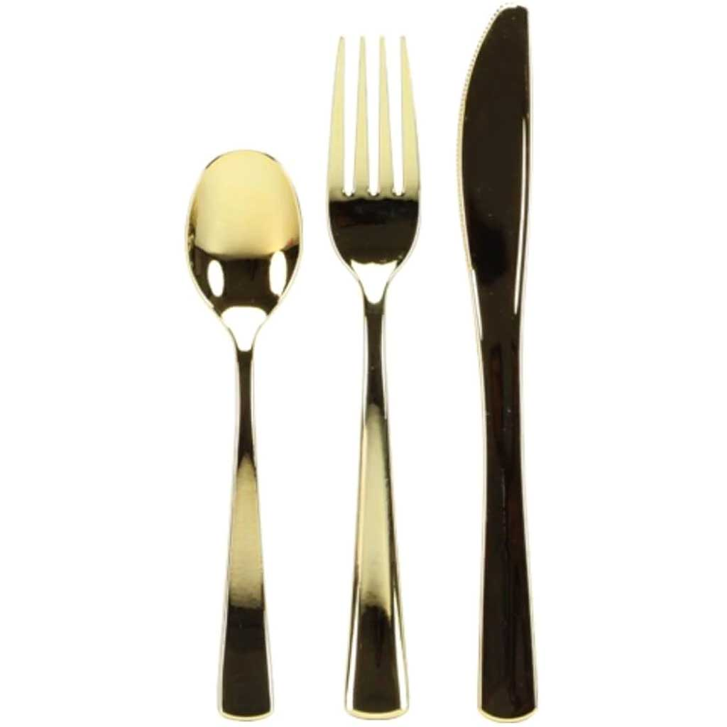 Combo Cutlery Acetate Box Polished Gold 96 Count