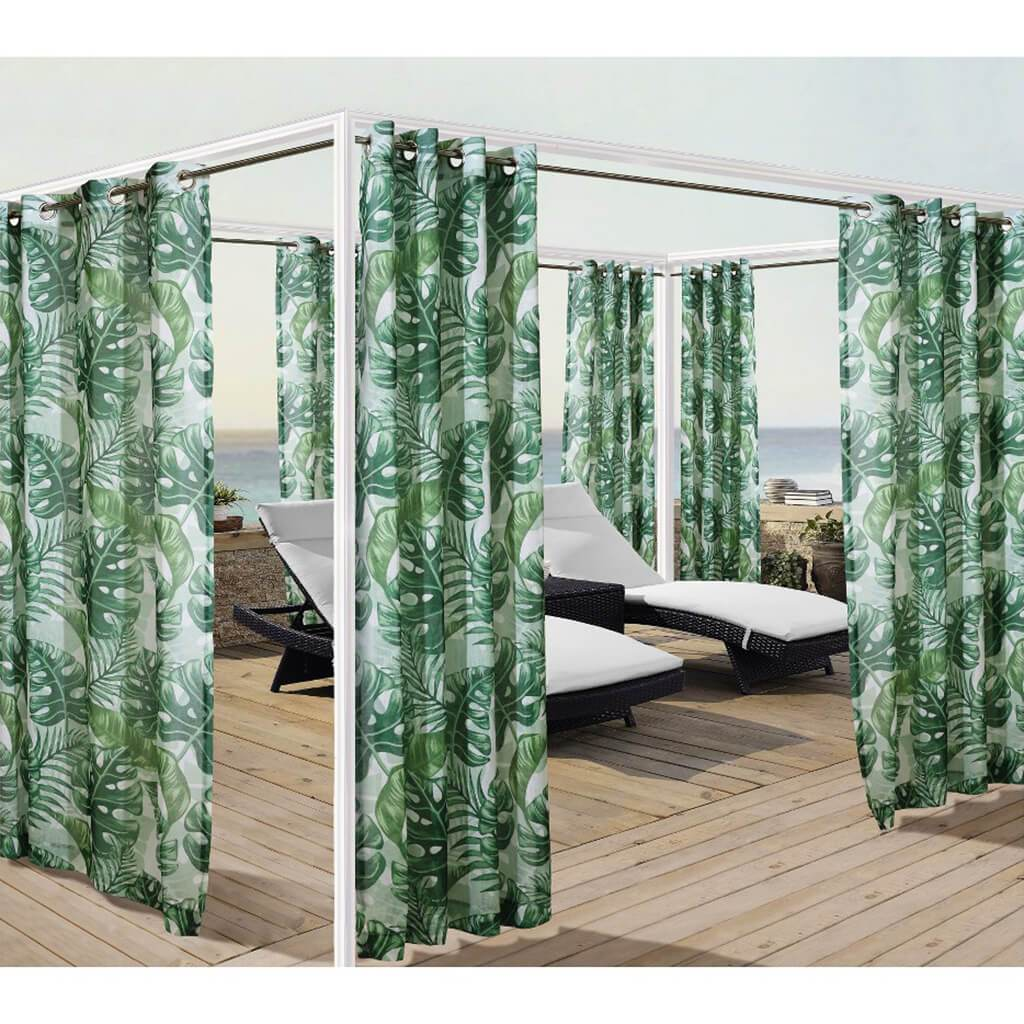 Banana Leaf Grommet Top Panel Curtains Green