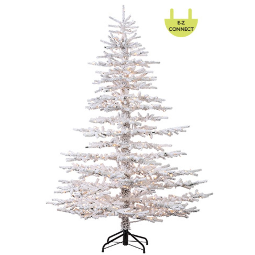 Flocked Garden Tree x1096 w/800 HLED Lights Easy Connect on Metal Stand