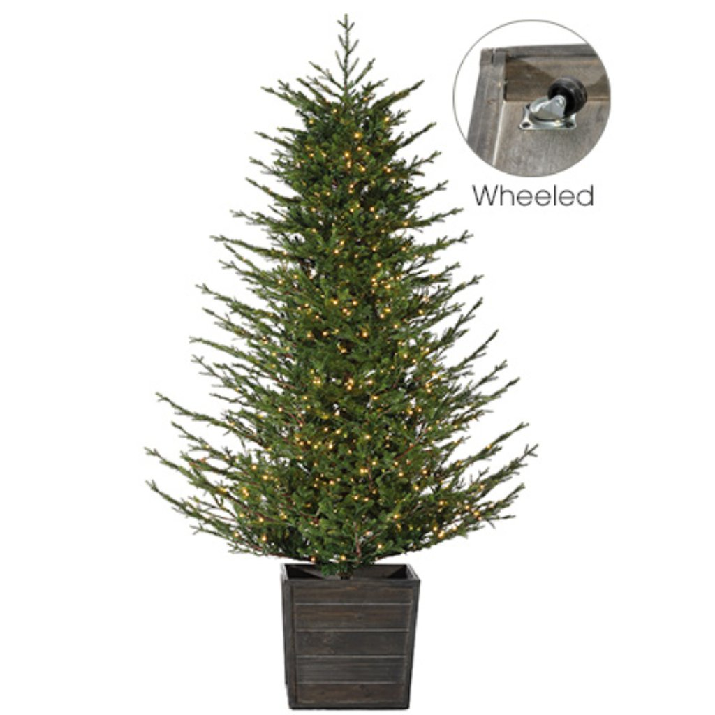 Deluxe Russian Pine Tree x3649 w/1000 HLED Lights in Large Wheeled Wood Box