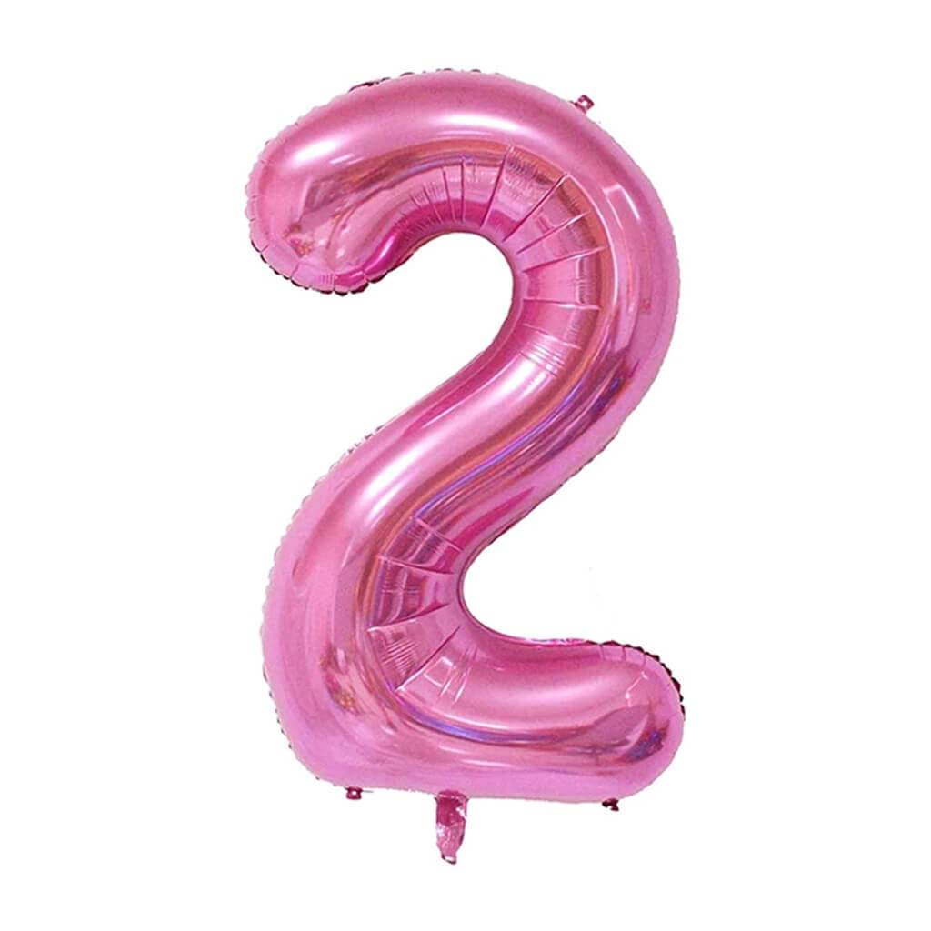 Giant Pink Foil Number 2 Balloon 34in