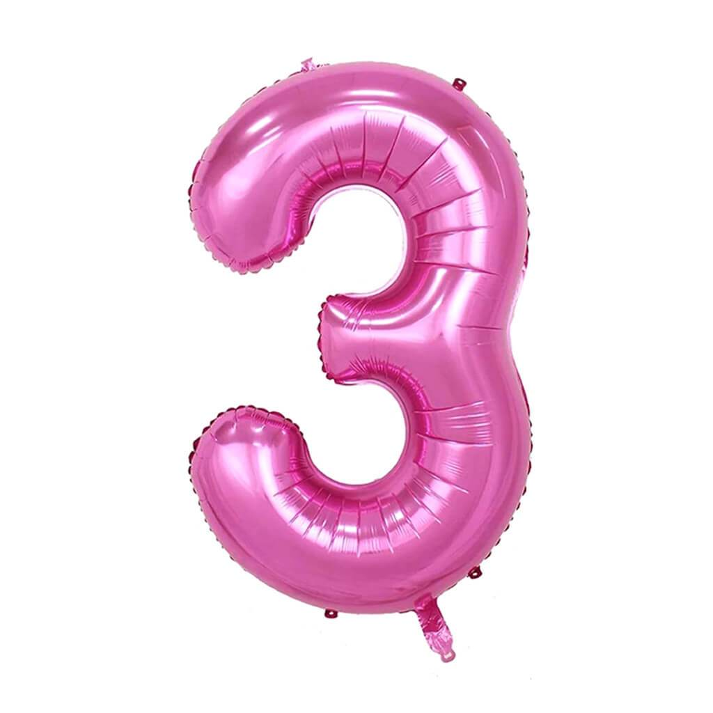 Giant Pink Foil Number 3 Balloon 34in