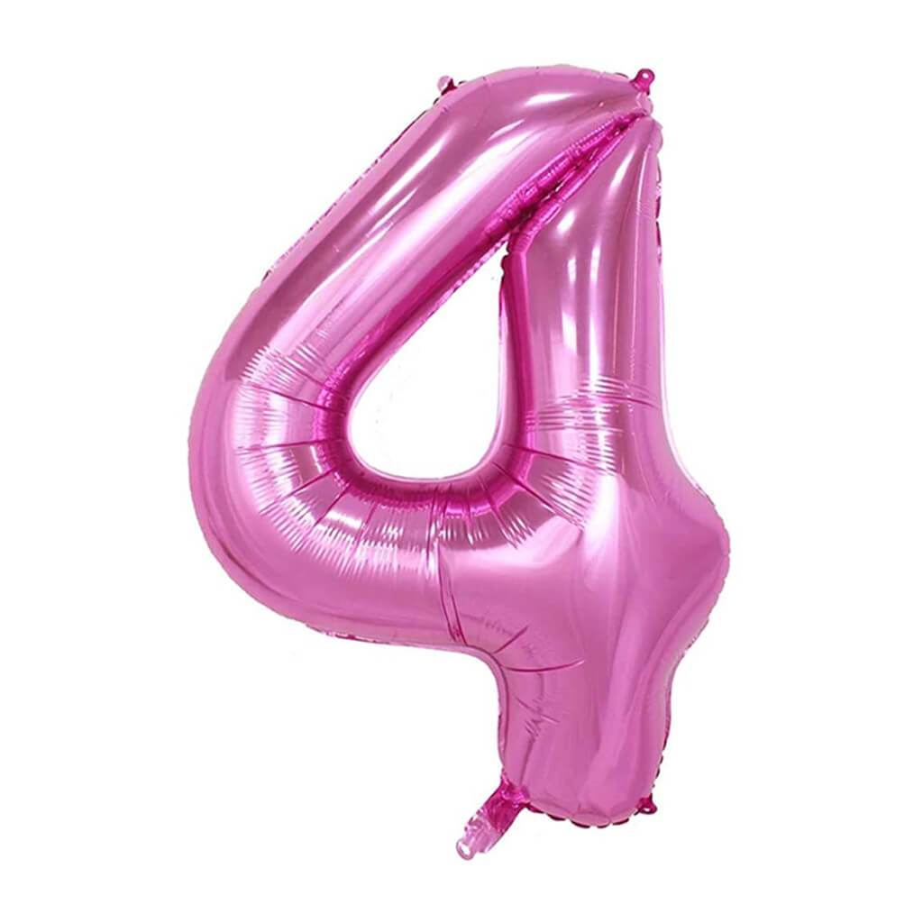 Giant Pink Foil Number 4 Balloon 34in