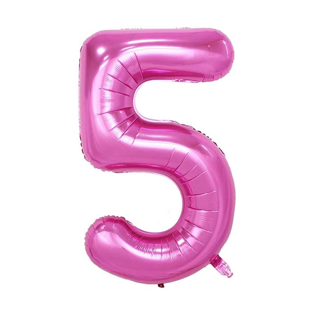 Giant Pink Foil Number 5 Balloon 34in