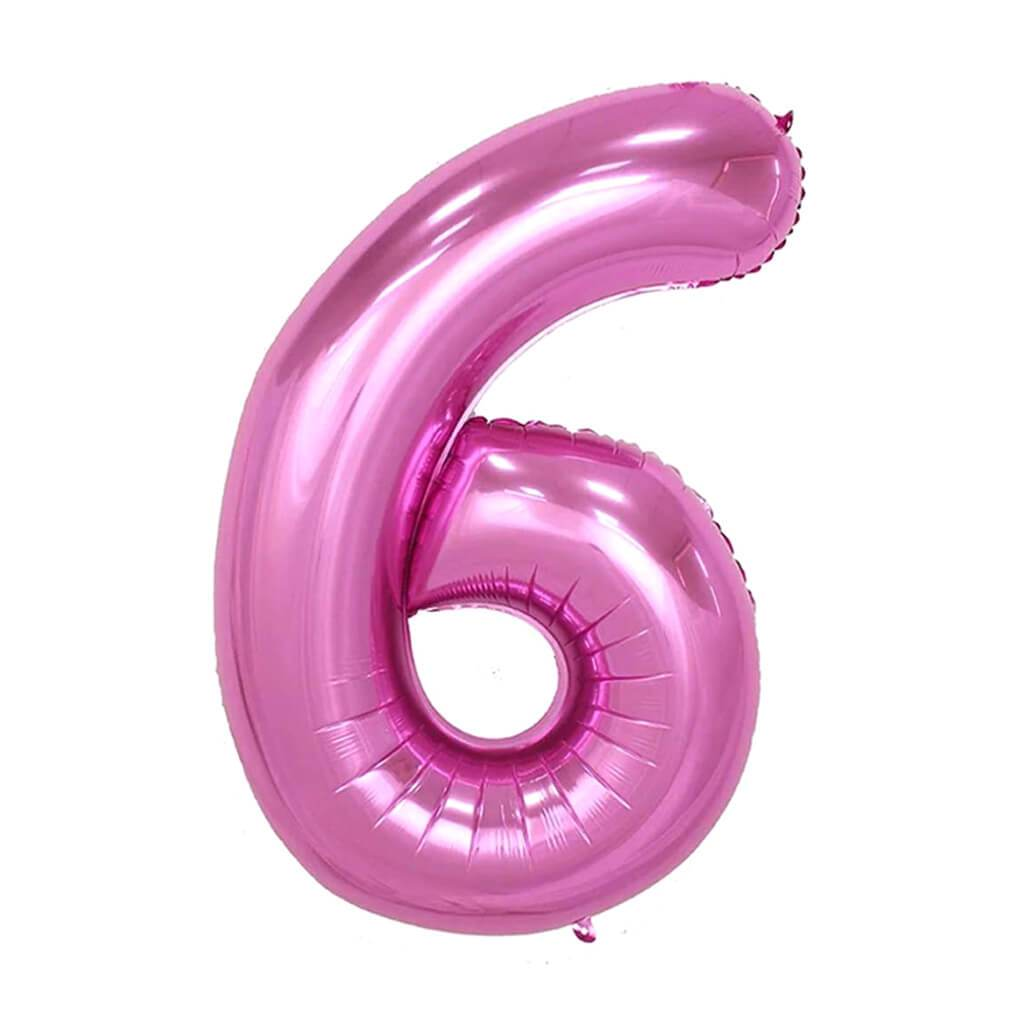 Giant Pink Foil Number 6 Balloon 34in