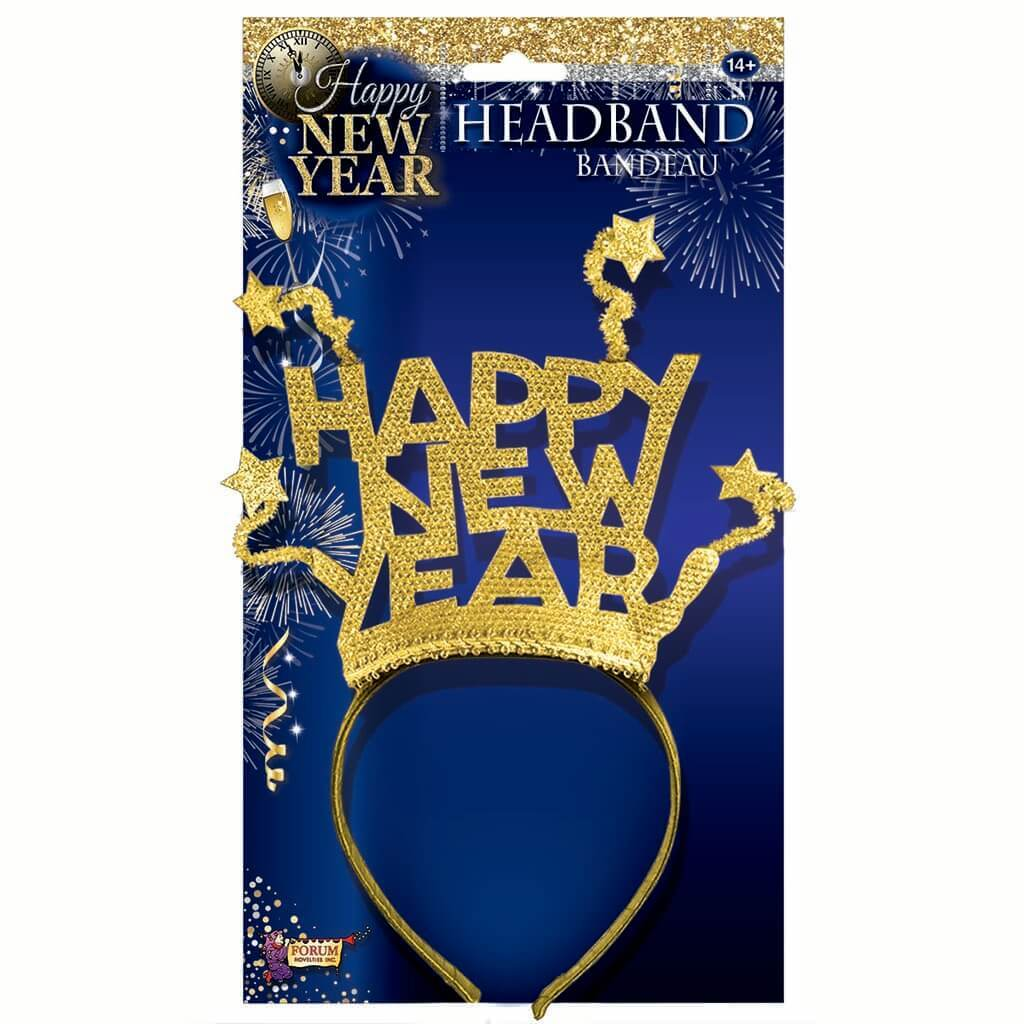 Happy New Year Headband with Stars Gold