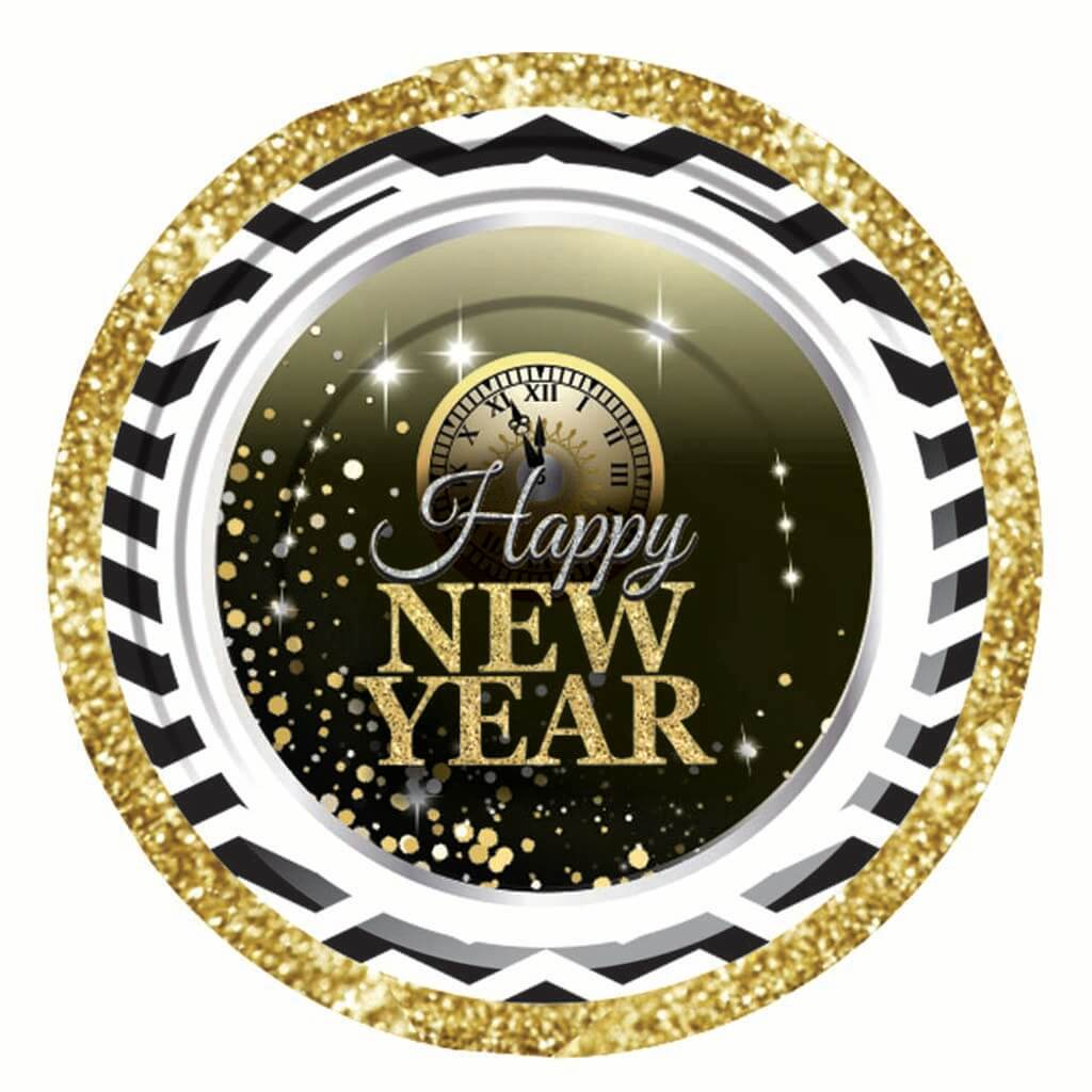 Happy New Year's Paper Plate 7in