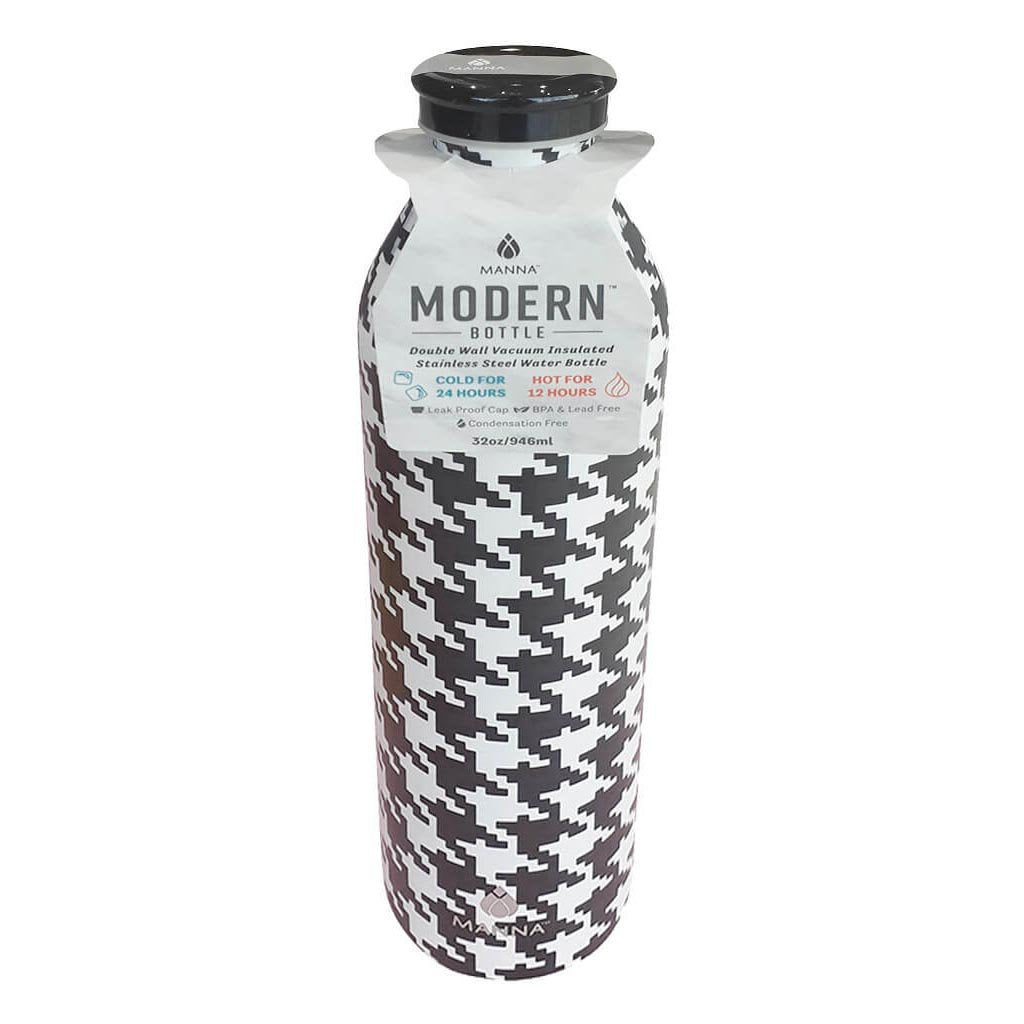 Modern Black White Houndstooth Bottle 32oz / 946ml