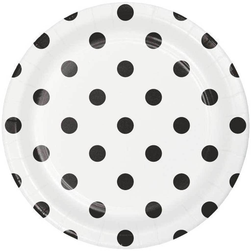 Dots & Stripes Black Velvet Paper Dessert Plates 9in 8ct