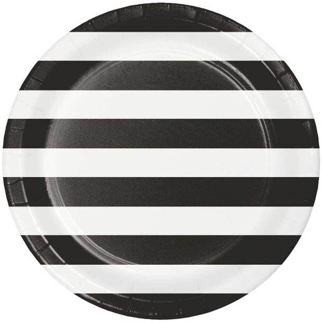 Dots & Stripes Black Velvet Paper Dinner Plates 9in 8ct