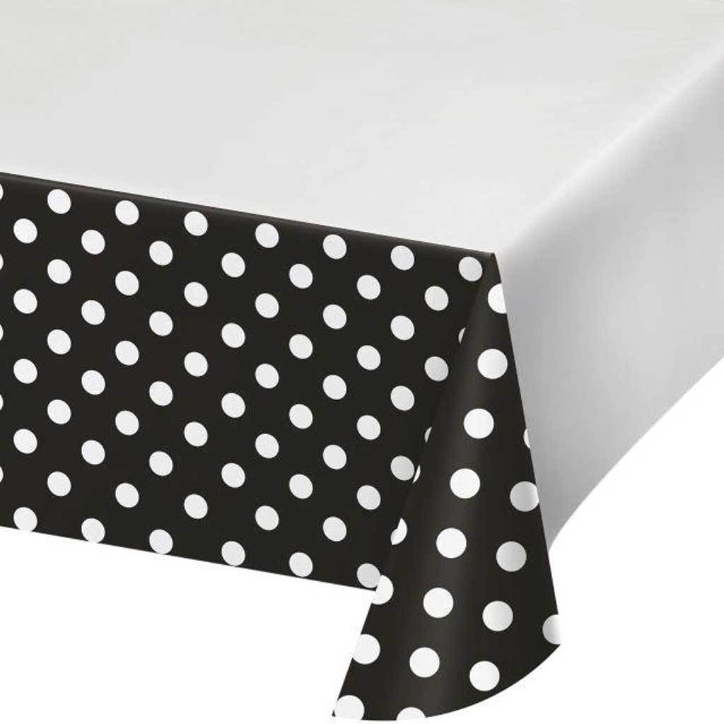 Dots & Stripes Black Velvet Plastic Plastic Tablecover 54inx102in