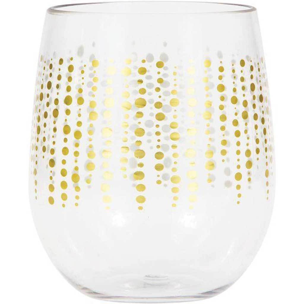 Glittering Gold Dots Plastic Stemless Wine Glass By Elise 14oz