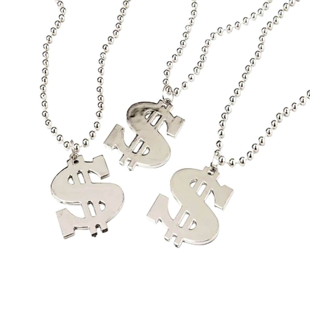 Metallic Silver Beads with Dollar Sign Pendants