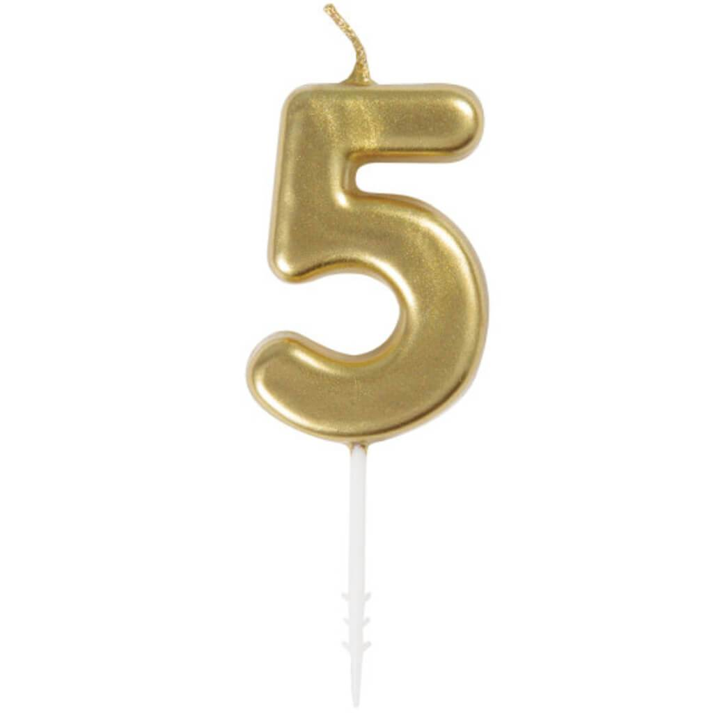 Mini Gold Pick Birthday Candle #5