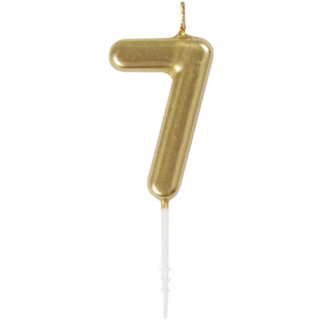 Mini Gold Pick Birthday Candle #7