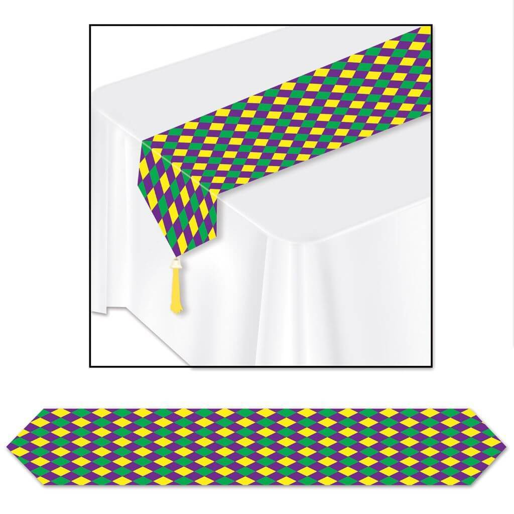 Mardi Gras Table Runner Printed 11in x 6ft