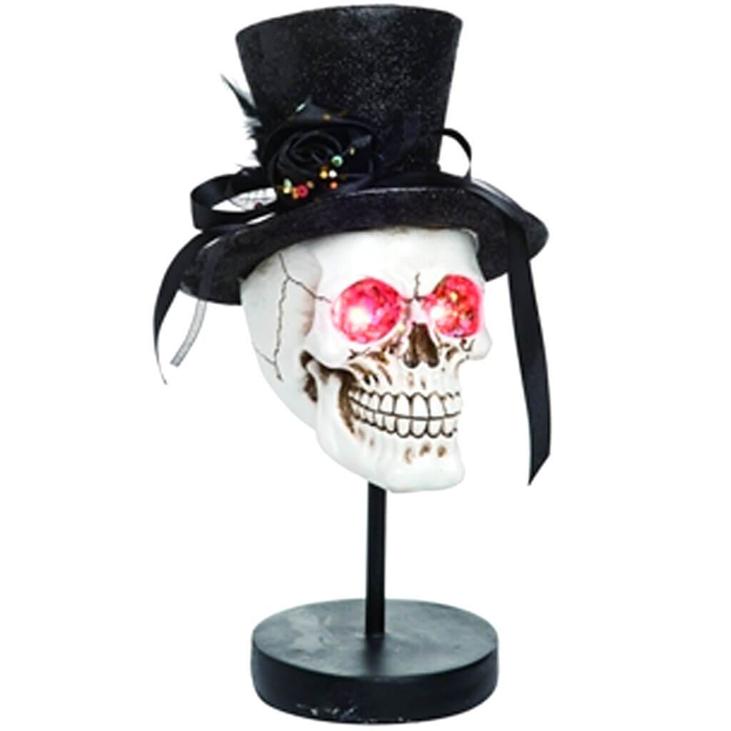 Res Light Up Glitter Top Hat Skull