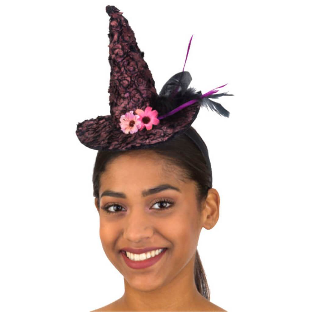 Mini Witch Hat W/ Flowers Headpiece