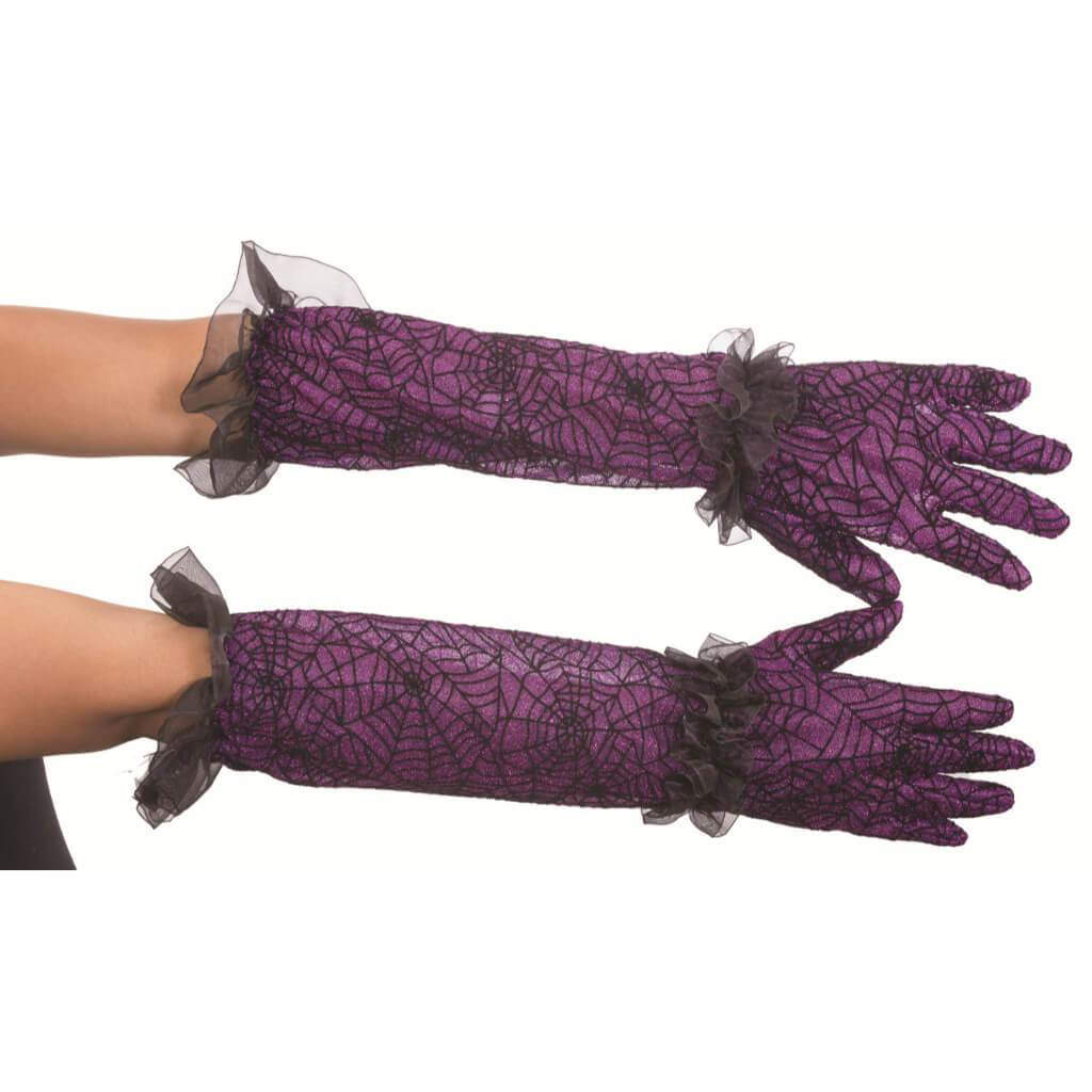 Purple Spider Web Gloves