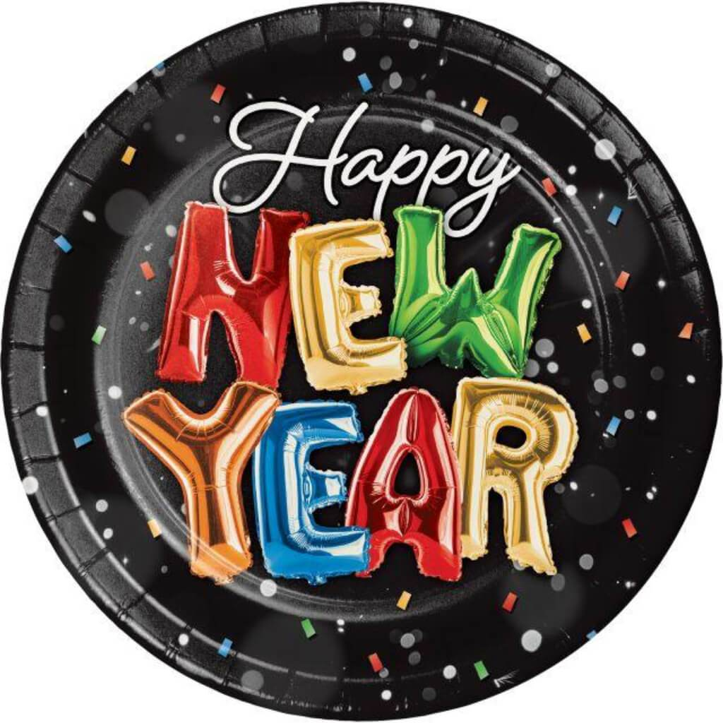 Balloons New Year Plate 9in 8ct