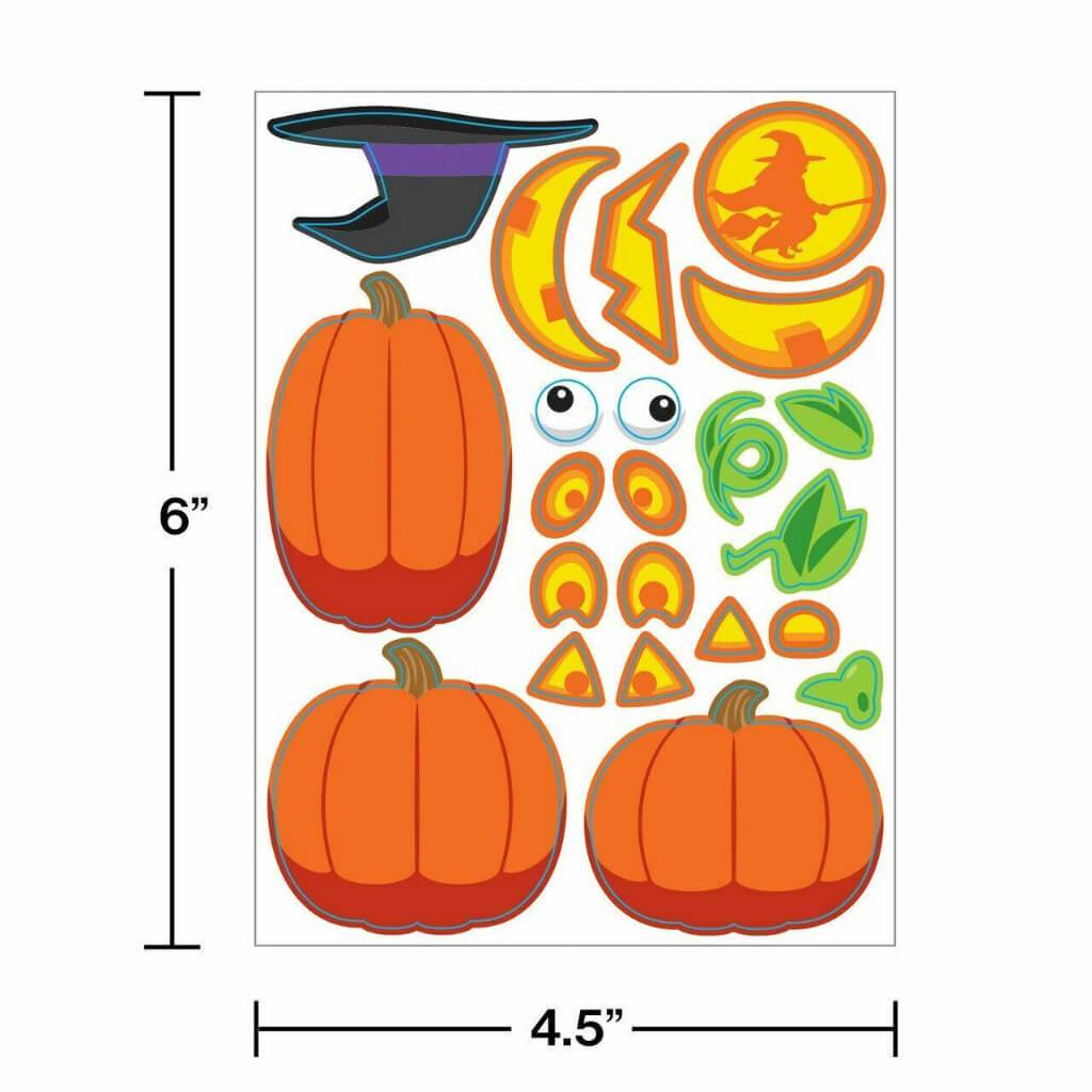 Pumpkin Faces Value Stickers on 4 Sheets