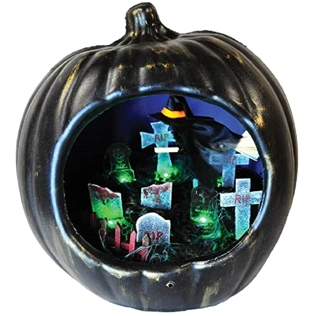 Pumpkin with Flying Witch Light Up Decoration