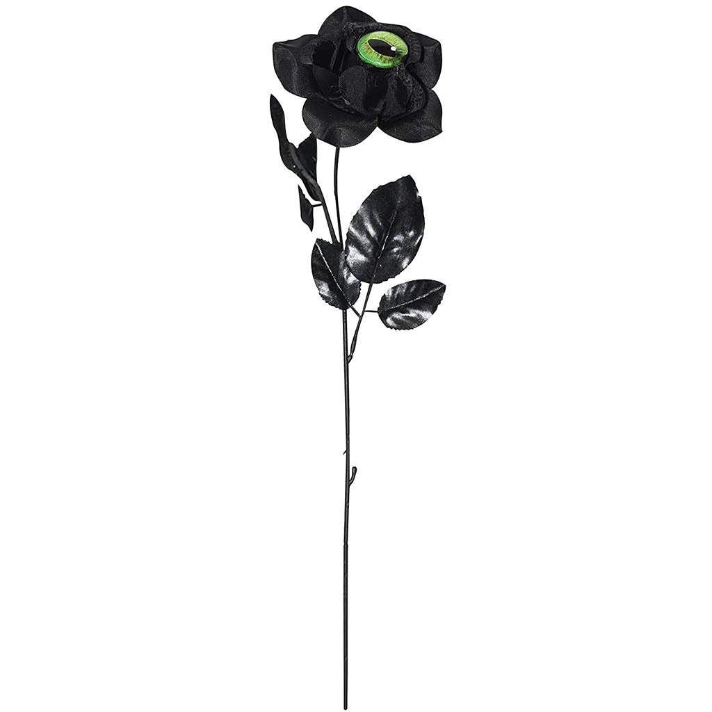 Black Rose With Cat Eye  17in Green