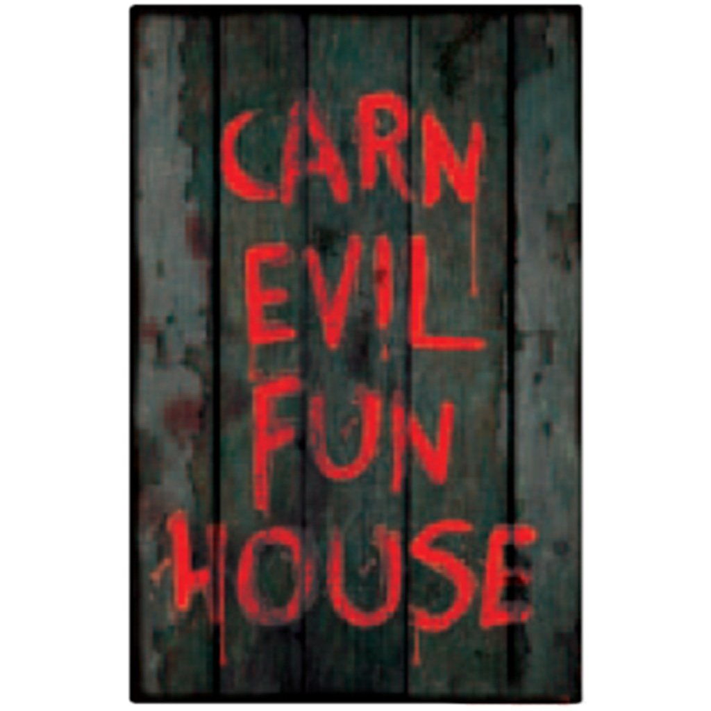 Metal Sign Bloody Car Evil Fun House 15in