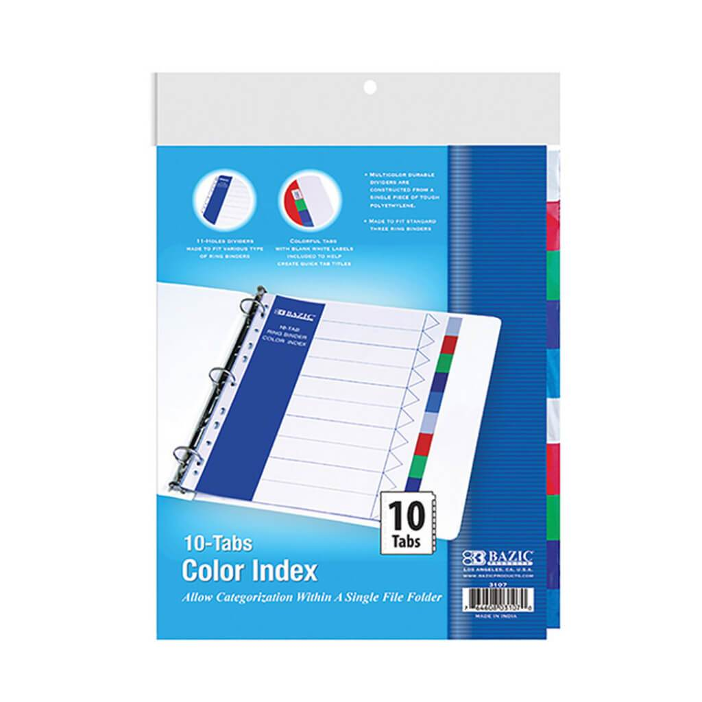 3 Ring Binder Dividers with Color Index 10 Tabs