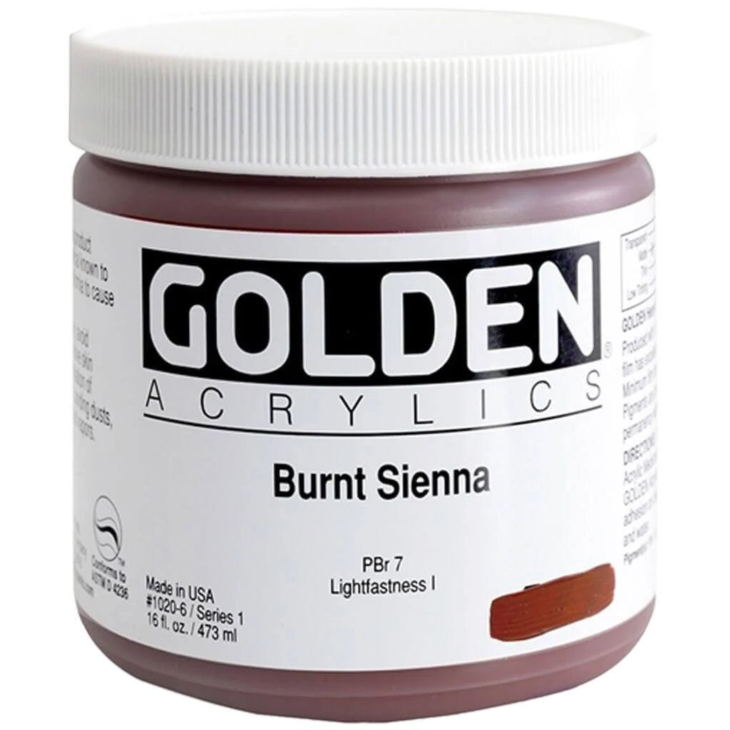 Golden Heavy Body Acrylic Paint Burnt Sienna 16oz