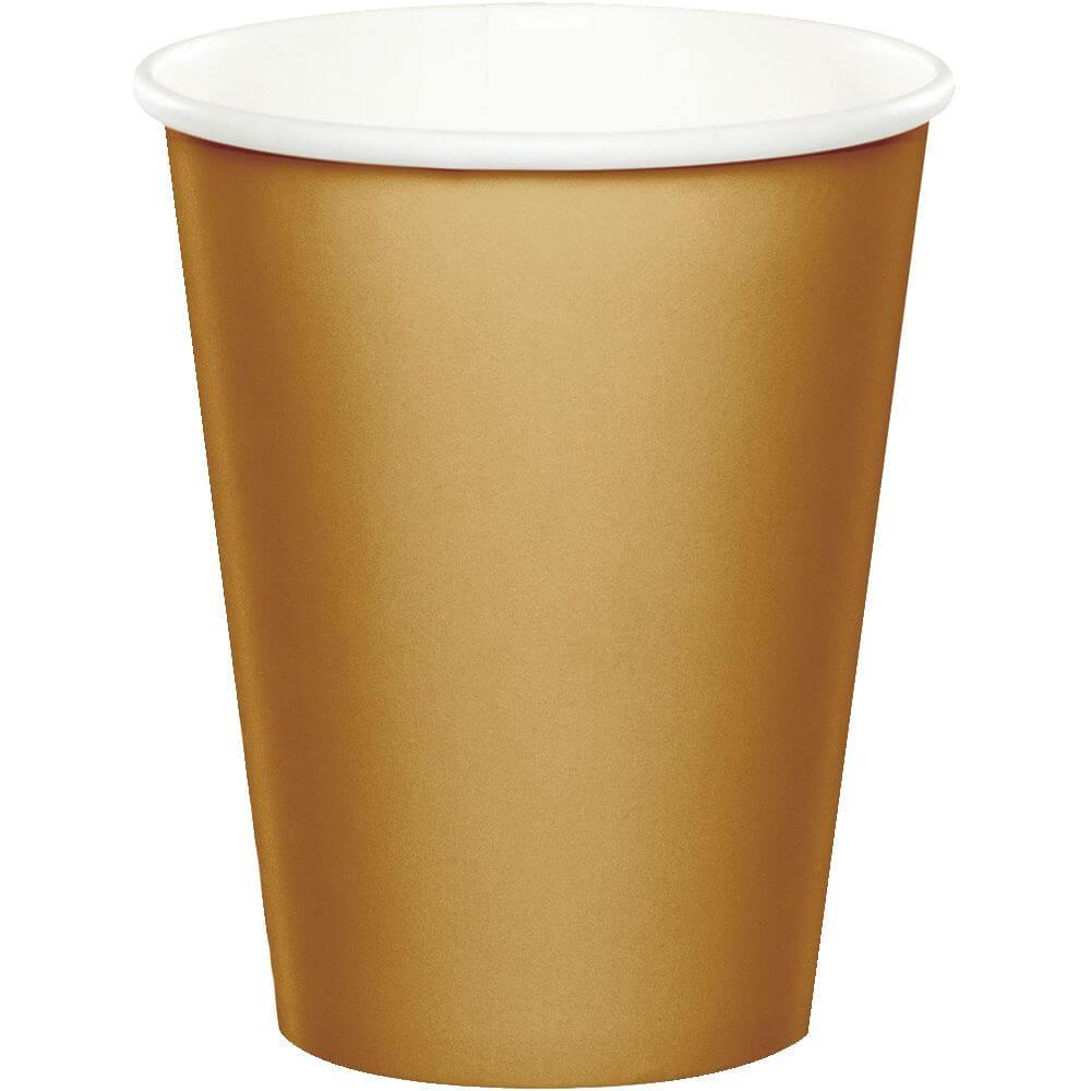 Glittering Gold Paper Cups 9oz 24ct