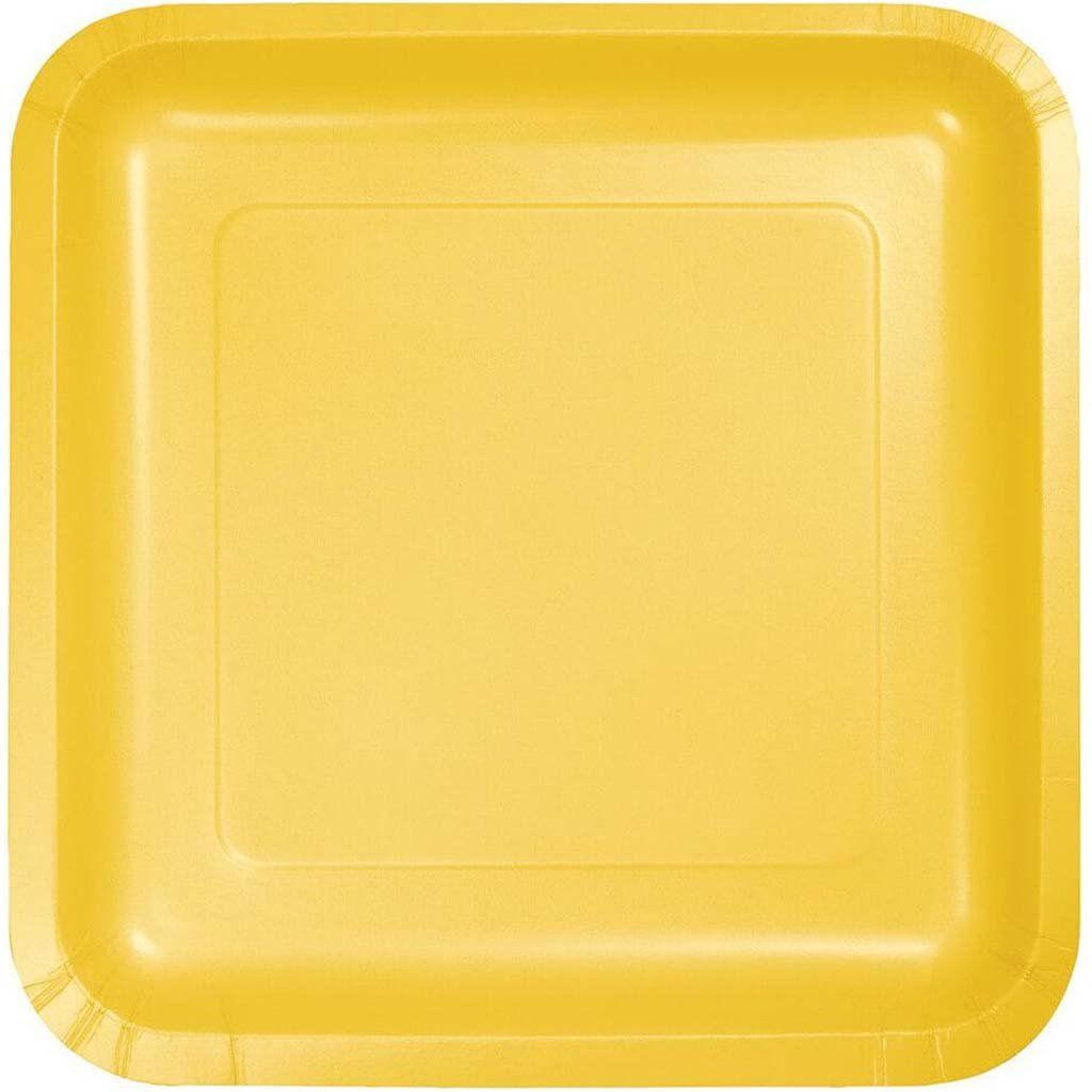 Paper Dinner Plates Square 9in 18ct, Schoolbus Yellow