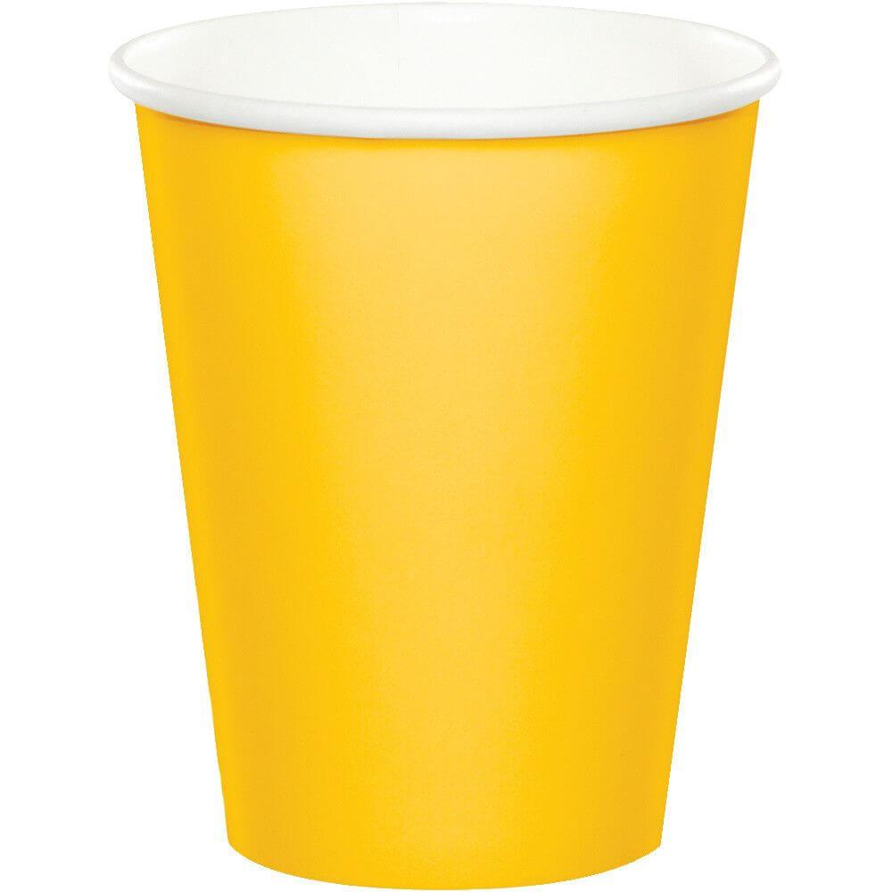 Hot/Cold Cups 9oz 24ct, School Bus Yellow