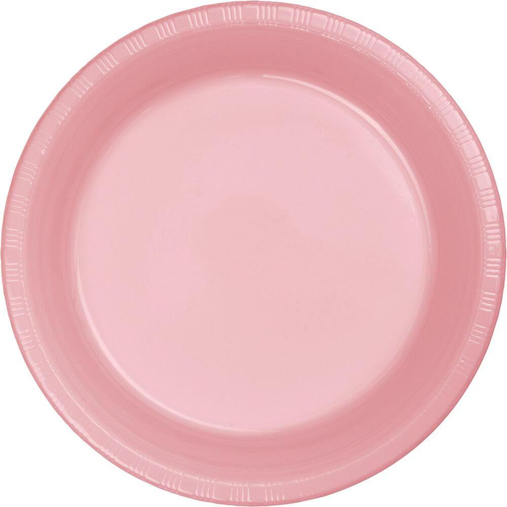 Plastic Dinner Plates 9in 20ct, Classic Pink