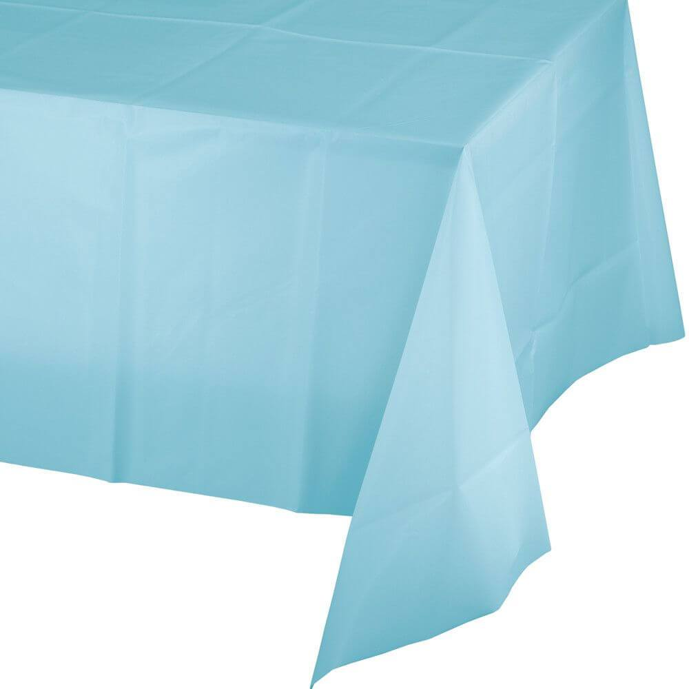 Plastic Rectangular Tablecover 54in x 108in, Pastel Blue