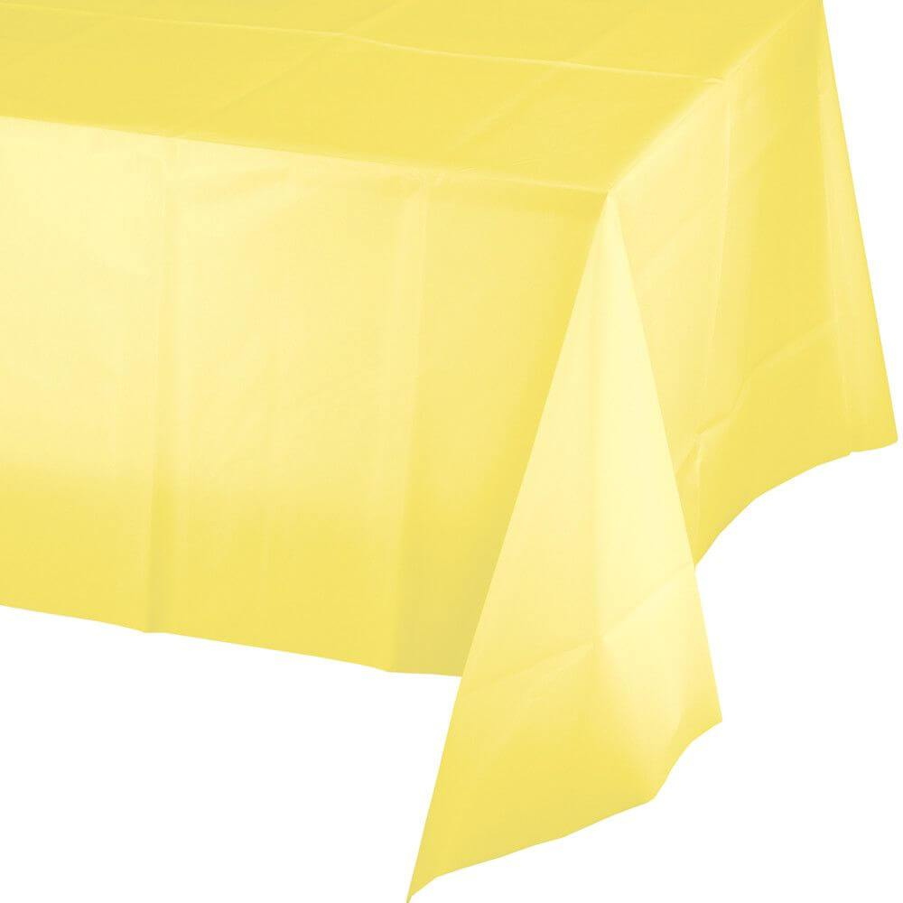 Plastic Rectangular Tablecover 54in x 108in, Mimosa Yellow