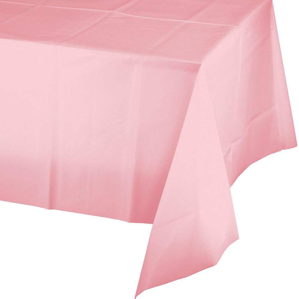 Rectangular Plastic Tablecover 54in x 108in, Classic Pink