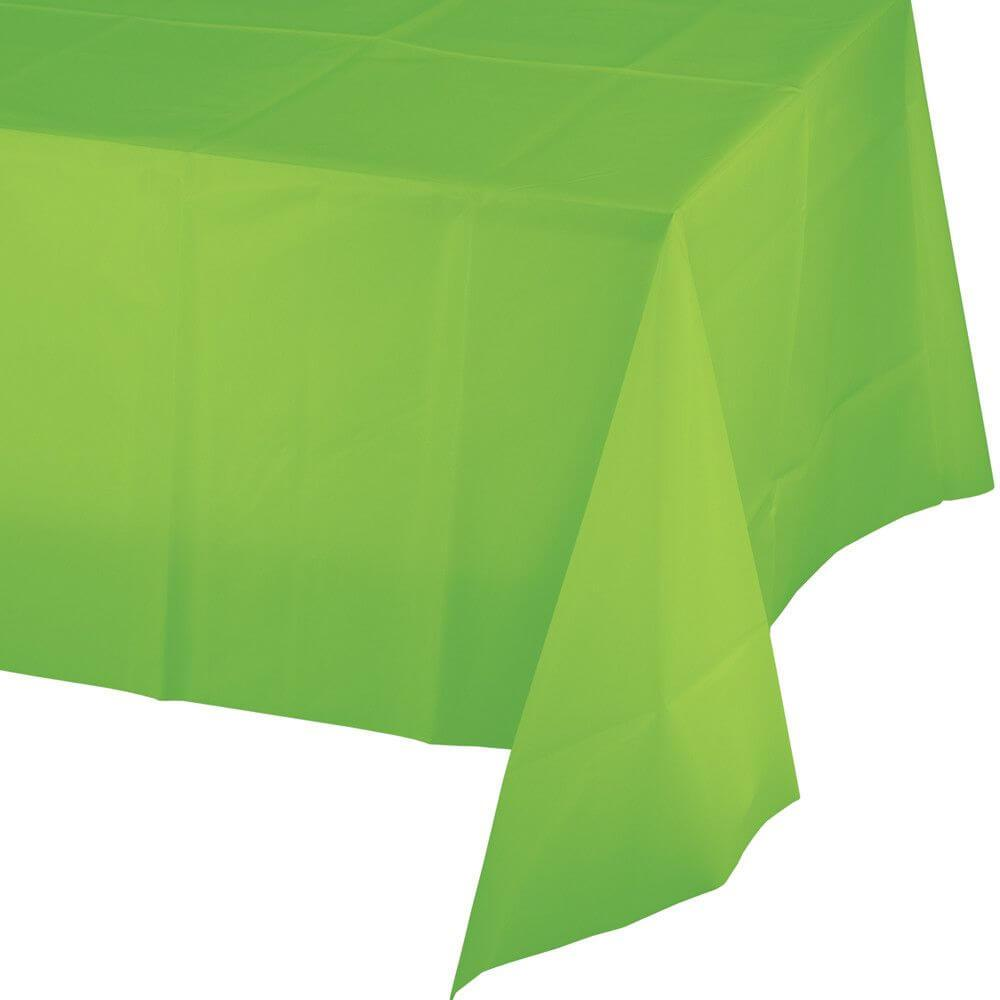 Fresh Lime Plastic Round Tablecover 54in x 108in,