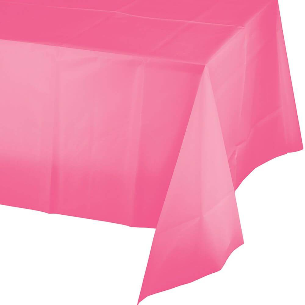 Plastic Rectangular Tablecover 54in x 108in, Candy Pink