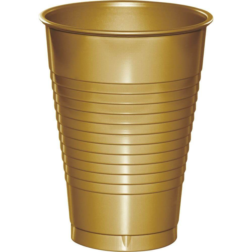 Glittering Gold Plastic Cups 12oz 20ct
