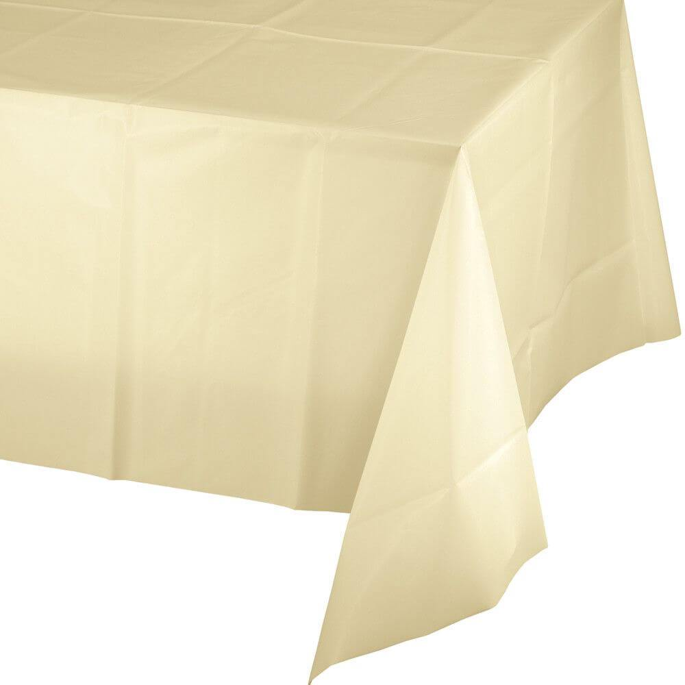 Plastic Rectangular Tablecover 54in x 108in, Ivory