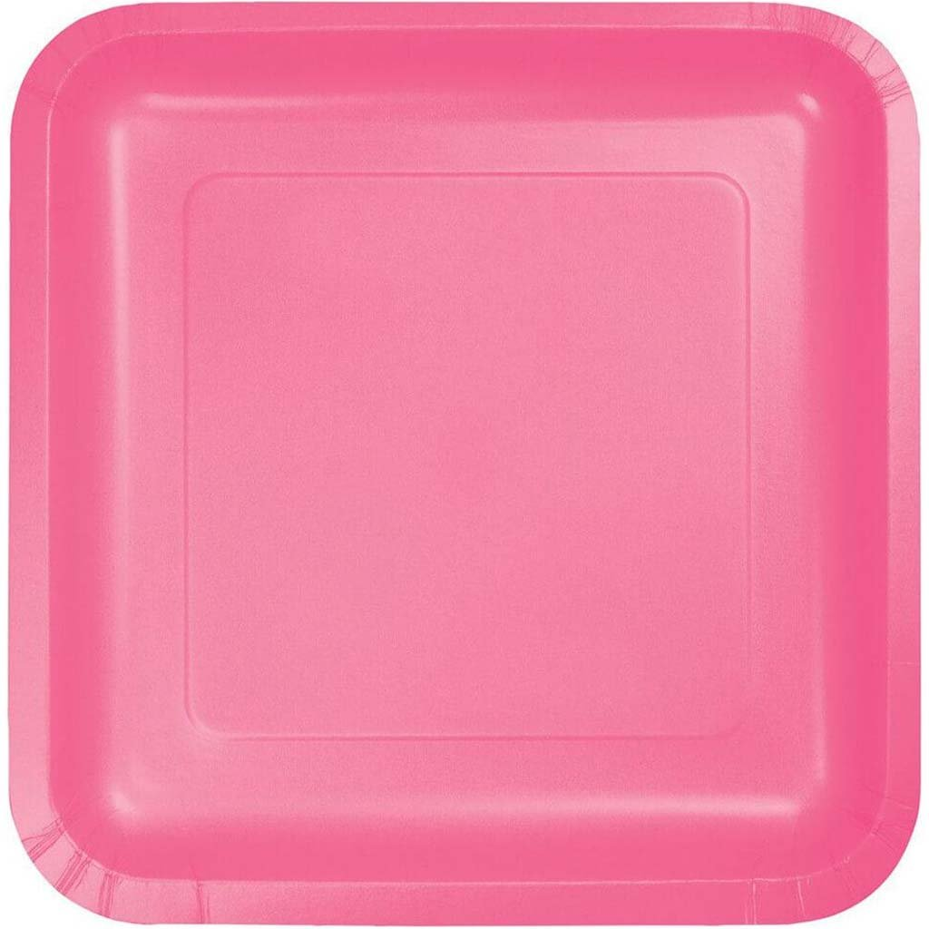 Paper Dinner Plates Square 18ct 9in, Candy Pink